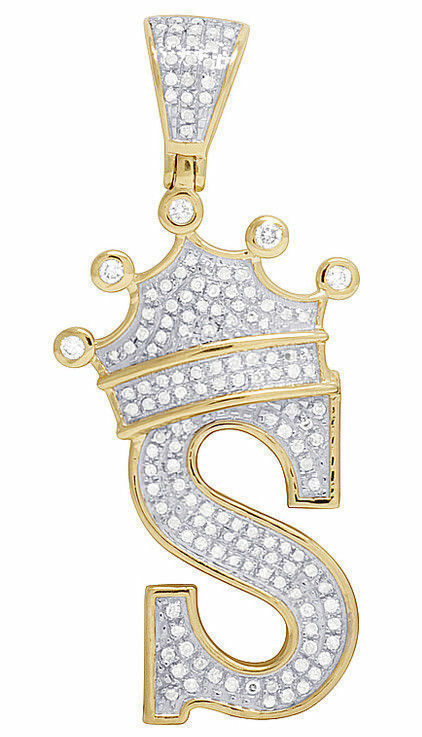 Mens And Womens   S   Initial Letter Pendant D VVS1 Diamond 14K Yellow gold Over