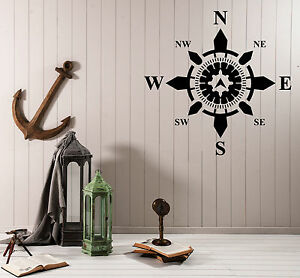 Details About Wall Vinyl Decal Side World Comp Navigation Nautical Interior Decor Z4578