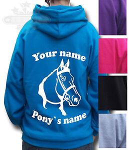 PERSONALISED GIFT PONY HOODIE Children's /& Adult's HORSE HEAD HORSE HOODIE