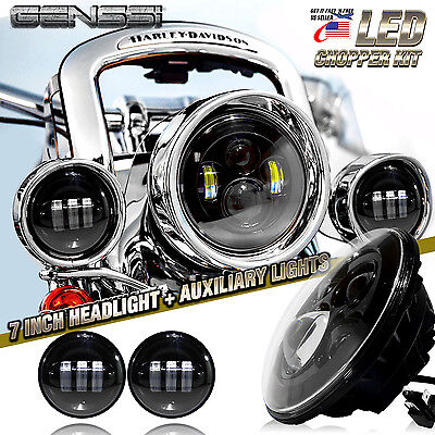 """7/"""" Black LED Projector Headlight With Passing Lights For Harley Softail"""