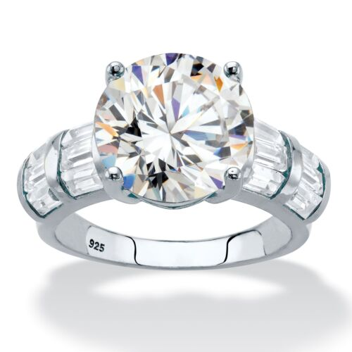7.28 TCW Round Cubic Zirconia Platinum over Sterling Silver Engagement Ring
