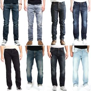 Nudie-B-Ware-Neu-Kleine-Maengel-Herren-Regular-Straight-Fit-Bio-Denim-Jeans-Hose