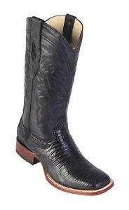Los-Altos-BLACK-Genuine-Handmade-Teju-Lizard-Western-Boots-Square-Toe-D