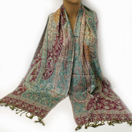 Écharpe 30x190cm Etroit paisley femmes écharpe viscose doux un pashmina turquoise rouge 39