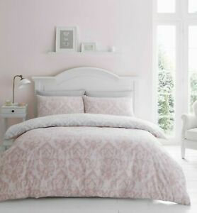 Catherine-Lansfield-Damask-Blush-Easy-Care-Duvet-Cover-Set-All-Sizes-Free-P-amp-P