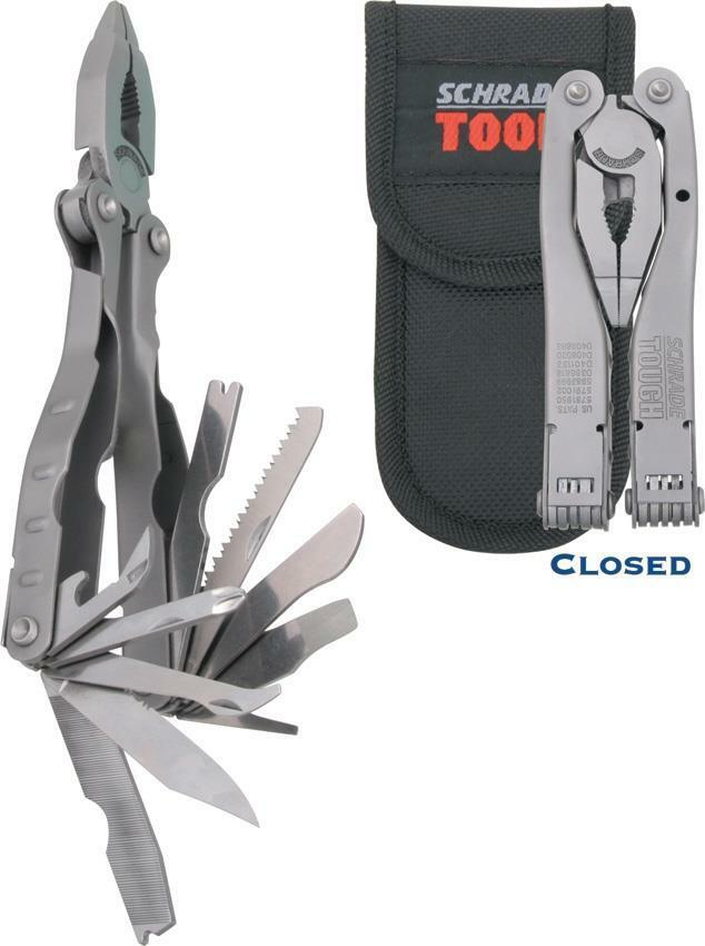 Schrade Stainless Ruler Knife Blades Pliers File Multi-Purpose Tough Tool ST1N