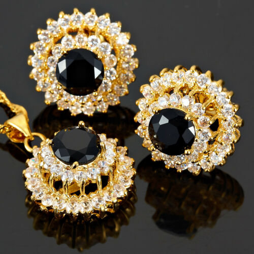 Laiton Noir Onyx Round Cut Collier Pendentif Boucles D/'oreilles 18K Or Plaqué Bijoux Set