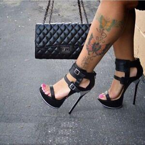 Women-Super-High-Heels-Ankle-Buckle-Stilettos-Open-Toe-Platform-Shoes-UK2-5-10-5