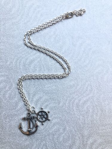 "ANCHOR WHEEL CHARM NECKLACE NAUTICAL 18/"" SILVER CHAIN ROCKABILLY VINTAGE STYLE"
