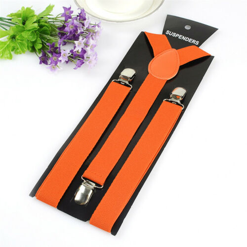 Men Women New Clip-on Suspenders Elastic Y-Shape Adjustable Braces Solids