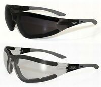 2 Anti Fog Padded Motorcycle Riding Glasses Sunglasses-day & Night-smoked-clear