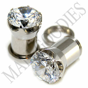 1258-Screw-on-fit-Clear-Solid-CZ-Prongs-Ear-Plugs-Retainers-0-Gauge-0G-8mm