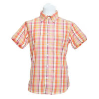 Men's Short Sleeve Pink, Orange and Yellow Check Shirt Button Down Size S-5XL