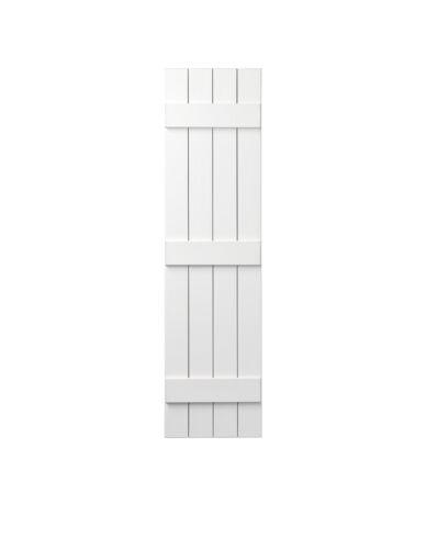15 in Polypropylene 4-Board Closed Board and Batten Shutters Pair in W x 67 in