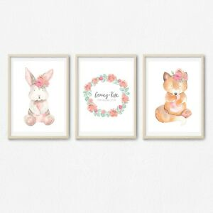 Hearty Set Of 3 Bubblegum Peekaboo Animal Prints Or Canvas Selling Well All Over The World Baby Wall Décor