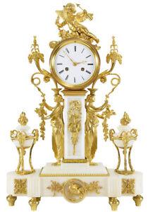 PENDULE-VESTALE-Kaminuhr-Empire-clock-bronze-horloge-antique-pendule-uhren
