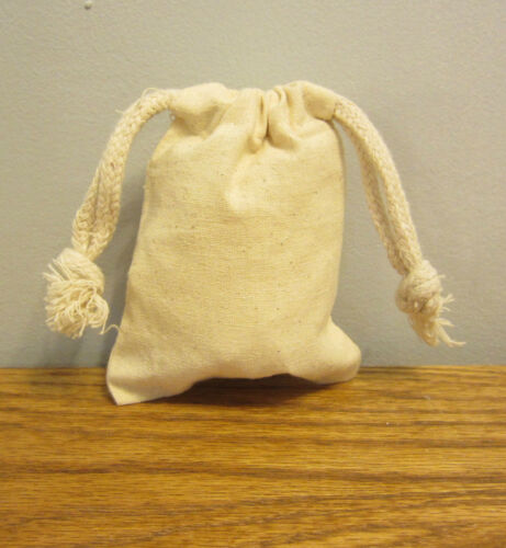 """5 NEW COTTON MUSLIN BAGS WITH DRAWSTRINGS 3/"""" BY 4/"""" BATH SOAP HERBS QUALITY BAG"""