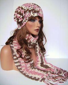 CROCHET PINK BROWN CREAM FLOWER HAT AND SCARF SET HAND MADE BEANIE SKULL CAP