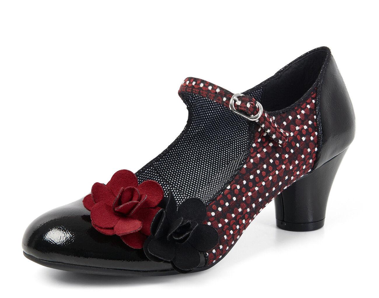 Ruby SHOO NUEVO Freya Negro Rojo Flor De Talón Mediados patente de Mary Jane Zapatos Tallas 3-9