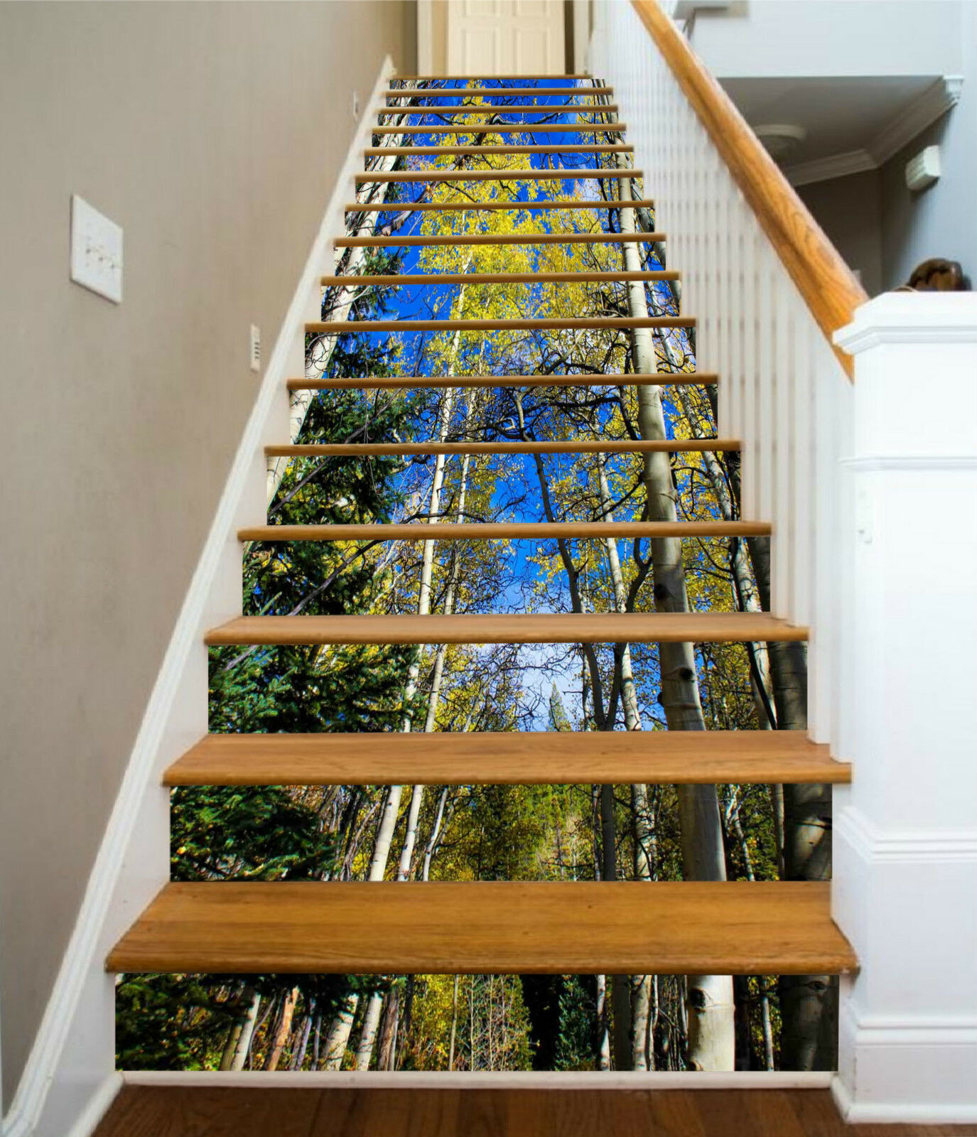 3D Baum Waldes 034 Stair Risers Dekoration Fototapete Vinyl Aufkleber Tapete DE