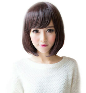 Dark-Brown-Straight-Bob-Women-039-s-Short-Hair-Anime-Cosplay-Costume-Full-Wigs-Cap