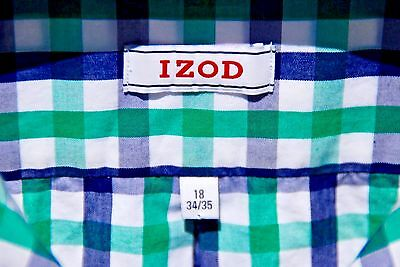 Izod 18/34-35 Blue, Green & White Check Gentleman's All Cotton Long-Sleeve Shirt