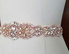 "Wedding Bridal Sash Belt - ROSE GOLD CRYSTAL PEARL Wedding SASH BELT= 15"" long"