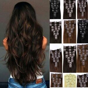 Hair-Extension-Full-Head-and-Half-Head-1pc-Clip-In-blonde-black-brown-feel-Human