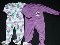 Fleece Girls Footed Pajamas Size 2t Winter Pjs Joe Boxer 2 Pair Purple