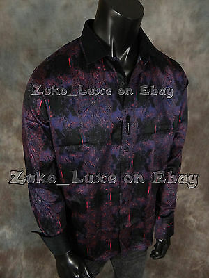 "Mens SIGNATURE Button Sport Club Shirt Designer Deep Purple Black ""Classic Fit"""
