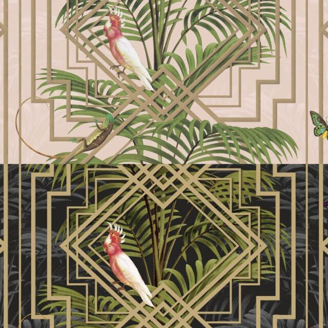 90200 Glasshouse Birds Foliage Pink Holden Decor Wallpaper