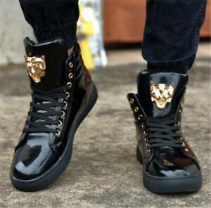 Patent Leather Men's Hip Hop Lace Up