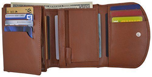 Women/'s Genuine Leather 2 ID Windows Multi Credit Card Coin Holder Wallet Ladies