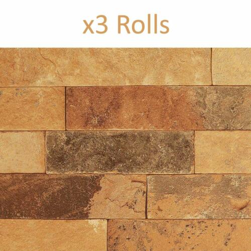 3 Rolls Clay Brick Effect Wallpaper Rasch Orange Brown Vinyl Paste the Wall