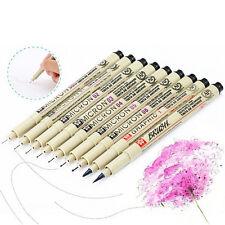 9xPigma Manga Comic Pro Graphic Markers Drawing Fine Point Ink Pens Brush Kit WB
