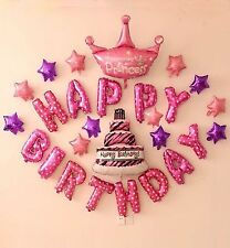 25pcsKids Girl Baby Princess Theme Happy Birthday Letter Party Foil Balloons Set