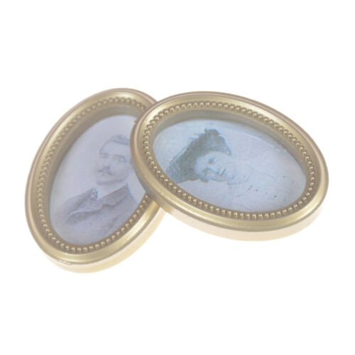 2X//Set Dollhouse Miniature Victorian Gentleman Lady Picture Oval Photo Frame HI