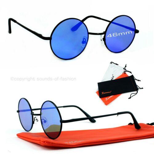 Nickelbrille Sonnenbrille Rund Flachglas Schwarz Blau Verspiegelt 5cm Rennec VP