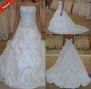 2017 New Cheap White/Ivory Embroidery Wedding Dress Bridal Gown Stock Size 6-16