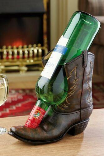 Cowboy Boot porte bouteille vin peints à la main Western