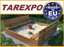 Sandkasten Sitzbank Sandkiste mit Deckel SANDBOX 120X120 HOLZ + GRATIS NEU HIT!