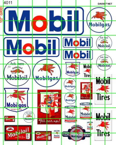 4011 HO 1:87 DAVE/'S DECALS VINTAGE MODERN MOBIL GAS//OIL SIGNS ADVERTISING