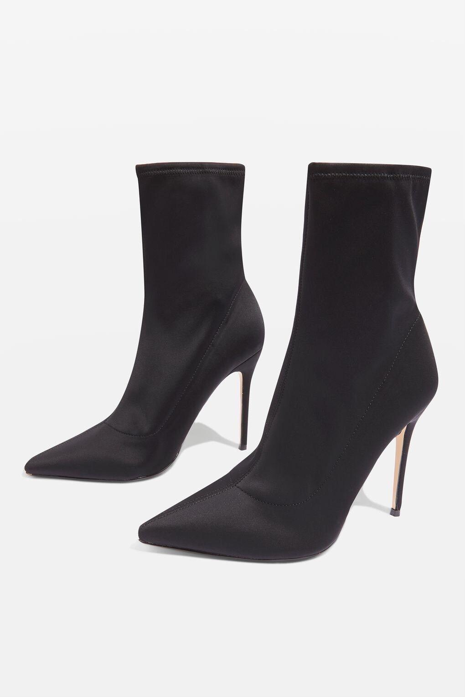 TOPSHOP BLACK MARGARITA Sock Boots STILETTO ANKLE BOOTS Sz8 41