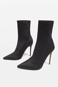 TOPSHOP-BLACK-MARGARITA-Sock-Boots-STILETTO-ANKLE-BOOTS-Sz6-39