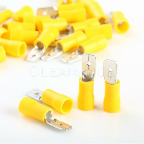 """100 pcs Car Home Audio Yellow Male Quick Disconnector .250/"""" 12-10"""