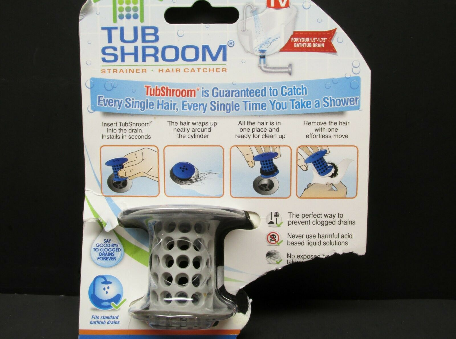 TubShroom Chrome Strainer Hair Catcher Drain Protector with StopShroom for Tub