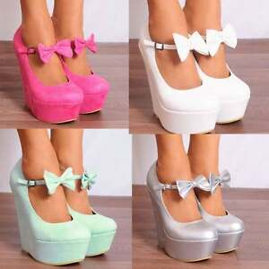 13d7a1ab759 Image is loading LADIES-WEDGED-PLATFORMS-WEDGES-HIGH-HEELS-BOWS-MARY-
