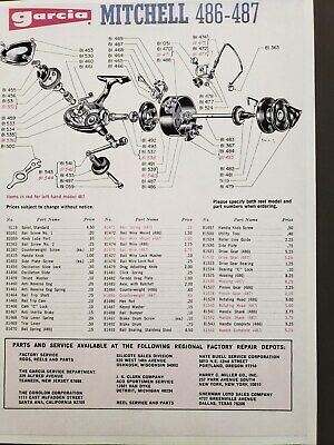 """Mitchell /""""8x10 Copy/""""  Schematic for # 340 Fishing Reel Garcia"""
