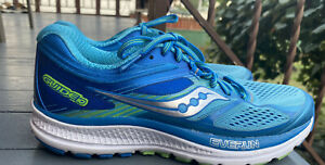 Saucony S10350-1 Guide 10 Everun Blue Aqua Silver Womens Running Shoes Size 7.5