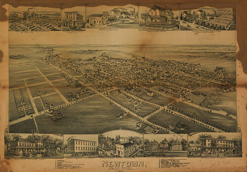 Newtown PA c1893 map 34x24